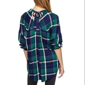 SANCTUARY Tie Back Plaid Button Down Green Blue M